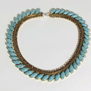 Vintage Signed Hobe Necklace Faux Turquoise Gold